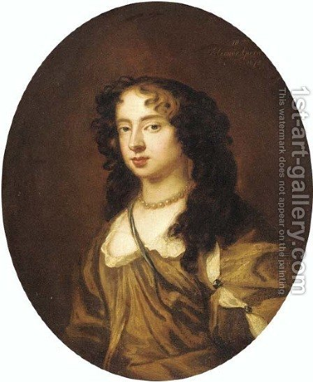 Portrait of Nell Gwyn, bust-length, in a brown dress by (after) Sir Peter Lely - Reproduction Oil Painting