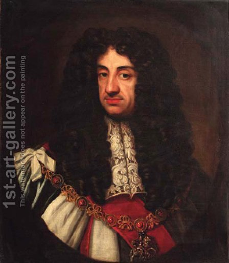 Portrait of Charles II, quarter-length, feigned oval by (after) Sir Peter Lely - Reproduction Oil Painting