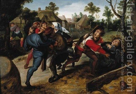 Peasants fighting over a game of cards by (after) Sir Peter Paul Rubens - Reproduction Oil Painting