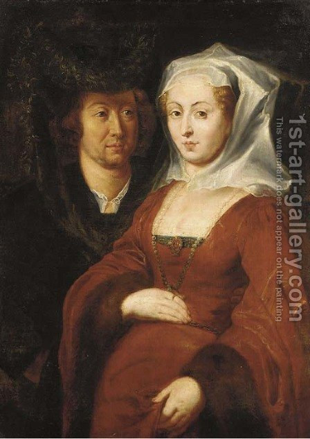 Ansegisus and Saint Bega by (after) Sir Peter Paul Rubens - Reproduction Oil Painting
