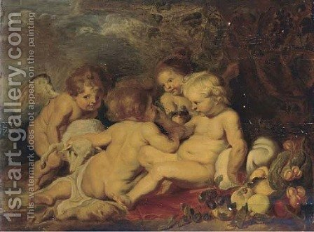 The Christ Child and the Intant Saint John the Baptist with putti in a wooded clearing by (after) Sir Peter Paul Rubens - Reproduction Oil Painting