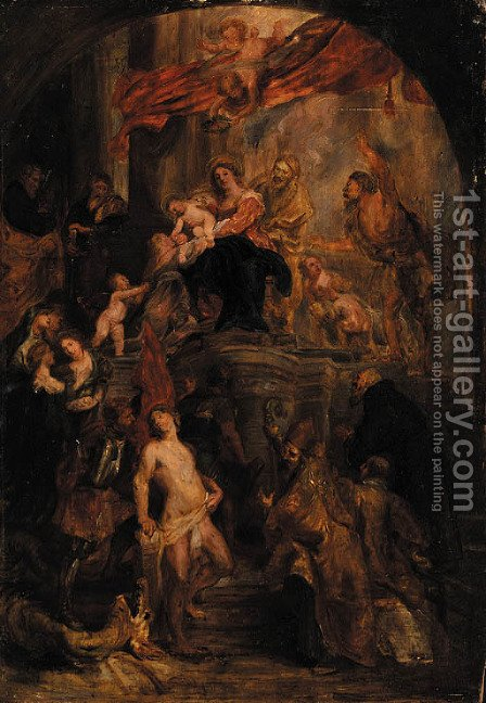The Virgin and Child enthroned by (after) Sir Peter Paul Rubens - Reproduction Oil Painting