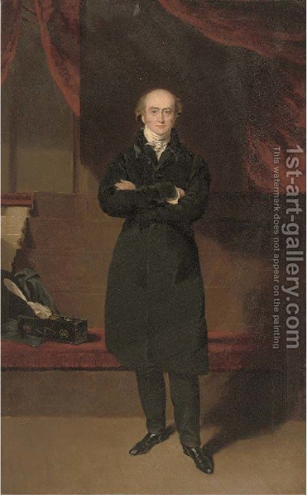 Portrait of George Canning M. P., small full-length, in a black suit, in the chamber of the House of Commons by (after) Lawrence, Sir Thomas - Reproduction Oil Painting