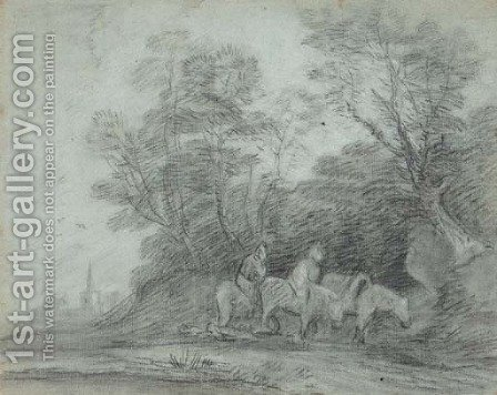 Two travellers on horseback, on a wooded track with a church beyond by (after) Gainsborough, Thomas - Reproduction Oil Painting