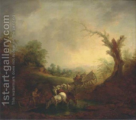 The ford by (after) Gainsborough, Thomas - Reproduction Oil Painting