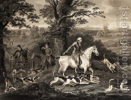 John Corbet and his fox hounds, by Richard Woodman by (after) Thomas Weaver - Reproduction Oil Painting