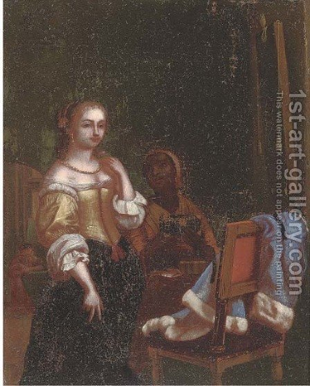 A lady and her maid in an interior by (after) Willem Van Mieris - Reproduction Oil Painting