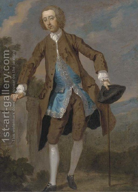 Portrait of Gustavus Hamilton (1710-1746), 2nd Viscount Boyne, small full-length, in a brown frock coat and blue waistcoat by (after) William Hogarth - Reproduction Oil Painting