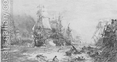 The battle of Trafalgar, 21 October 1805 by (after) William Lionel Wyllie - Reproduction Oil Painting