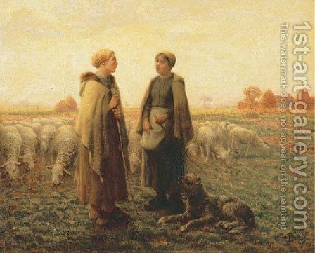 Two Shepherdesses with a Dog by Aime Perret - Reproduction Oil Painting