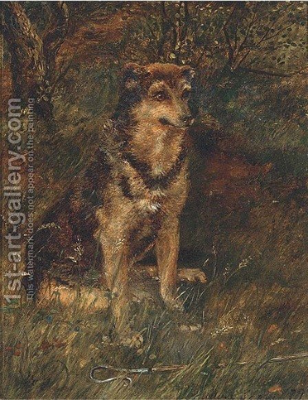 A dog in a wood by Alan Culpepper Sealy - Reproduction Oil Painting