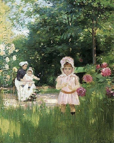 Au jardin by Albert Aublet - Reproduction Oil Painting