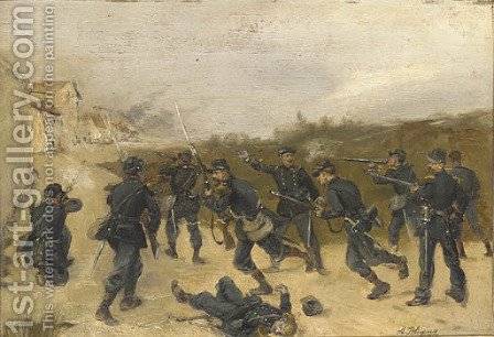 French soldiers storming a town by Albert Bligny - Reproduction Oil Painting