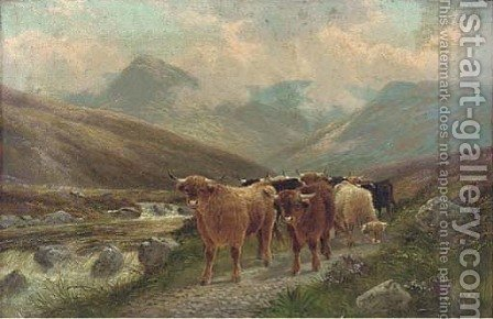 Highland cattle by the Beauly river by Albert Dunnington - Reproduction Oil Painting