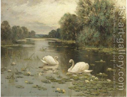 The lily pool by Albert E. Bailey - Reproduction Oil Painting