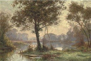 Reproduction oil paintings - Albert Gabriel Rigolot - At the lake in the forest, dawn