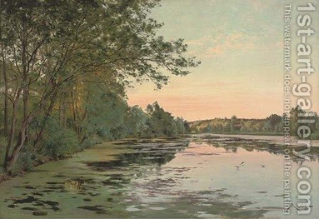 Still waters at dusk by Albert Gabriel Rigolot - Reproduction Oil Painting
