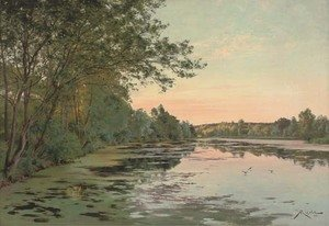 Reproduction oil paintings - Albert Gabriel Rigolot - Still waters at dusk