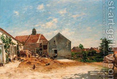 The farmyard by Albert Gabriel Rigolot - Reproduction Oil Painting