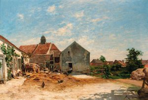 Reproduction oil paintings - Albert Gabriel Rigolot - The farmyard