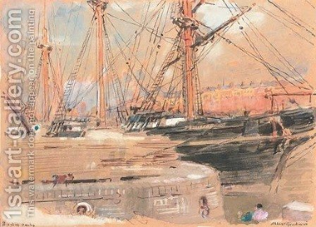 Bristol docks by Albert Goodwin - Reproduction Oil Painting