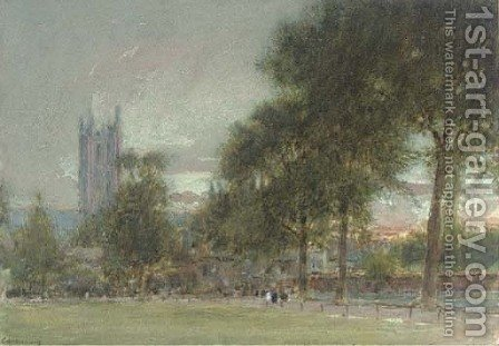 Canterbury at sunset by Albert Goodwin - Reproduction Oil Painting