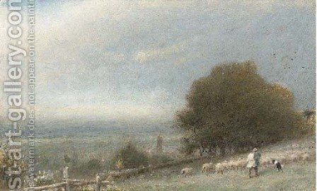 Driving sheep, Winchester by Albert Goodwin - Reproduction Oil Painting