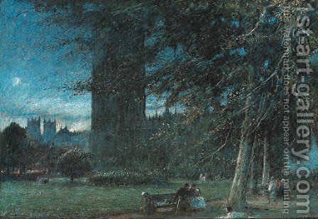 Figures seated on a bench, before the Houses of Parliament by Albert Goodwin - Reproduction Oil Painting