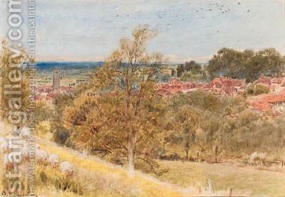 Glastonbury, sheep grazing on a hillside in the foreground, Somerset by Albert Goodwin - Reproduction Oil Painting