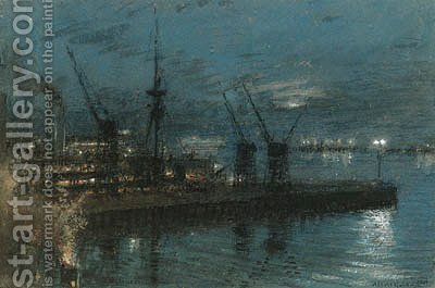 H.M.S. Kent - Night at Cape Town, South Africa by Albert Goodwin - Reproduction Oil Painting