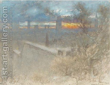 In the Guistini Garden, Verona - sunset by Albert Goodwin - Reproduction Oil Painting