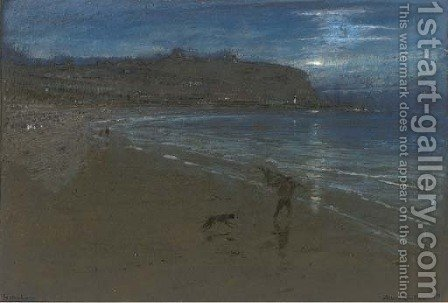 Scarborough bathed in moonlight by Albert Goodwin - Reproduction Oil Painting