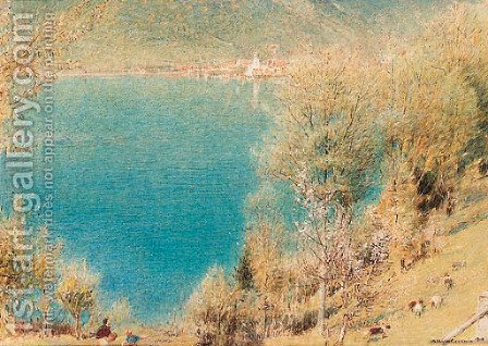View of Lake Lucerne, Switzerland by Albert Goodwin - Reproduction Oil Painting