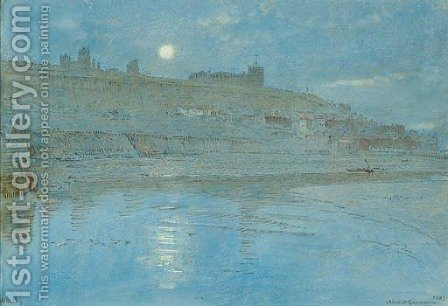 Whitby by moonlight by Albert Goodwin - Reproduction Oil Painting