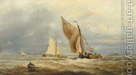 Sailing vessels in a stiff breeze by Albert Jurardus van Prooijen - Reproduction Oil Painting