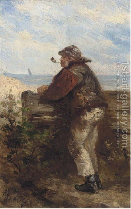 A fisherman looking out to see by Albert Jurardus Van Prooyen - Reproduction Oil Painting