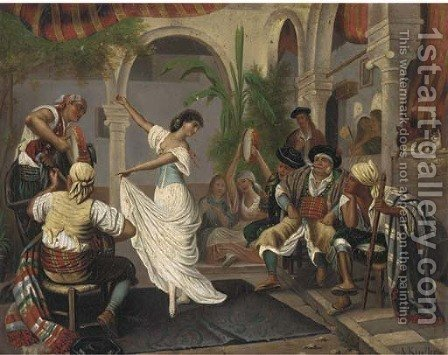 Enchanting entertainment by Albert Kindler - Reproduction Oil Painting