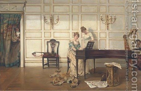 The music lesson by Albert Jnr. Ludovici - Reproduction Oil Painting