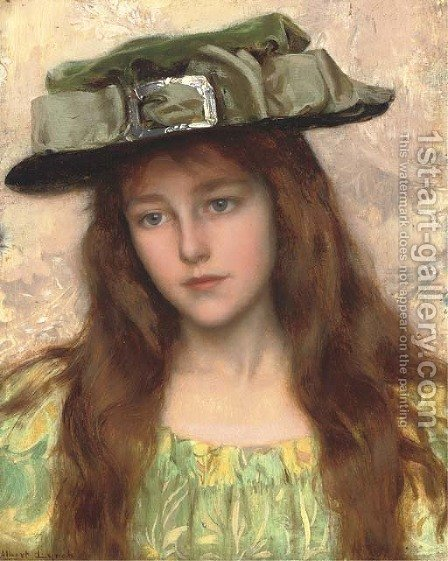 A Young Beauty in a Green Hat by Albert Lynch - Reproduction Oil Painting