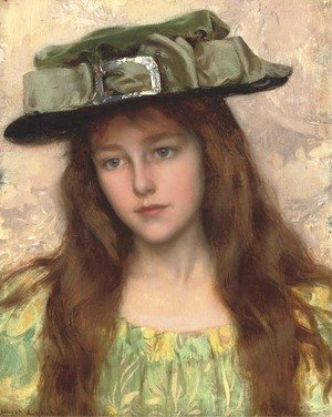 Reproduction oil paintings - Albert Lynch - A Young Beauty in a Green Hat