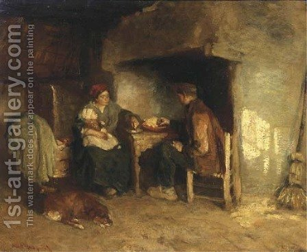 Dinner time by Albert Neuhuys - Reproduction Oil Painting