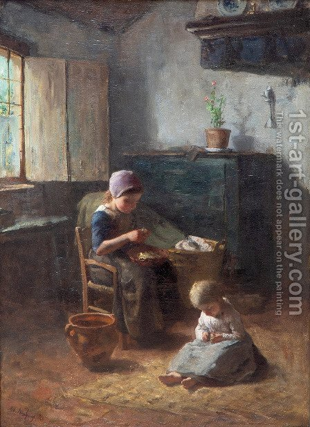 Mother's little helpers by Albert Neuhuys - Reproduction Oil Painting