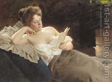 A reclining woman reading by Albert Ritzberger - Reproduction Oil Painting