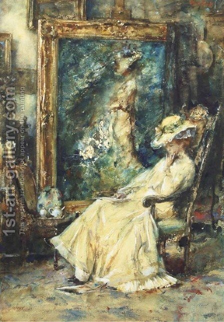 A pause from posing an elegant lady seated in the artist's studio by Albert Roelofs - Reproduction Oil Painting