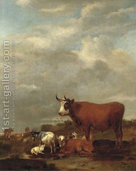 A landscape with cows and goats by Albert-Jansz. Klomp - Reproduction Oil Painting
