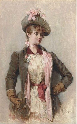 Reproduction oil paintings - Albert Lynch - A young lady in a coat and hat with a pink bow