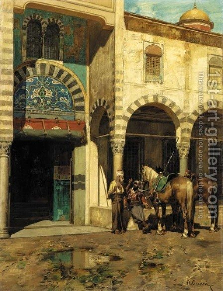 A Rest Outside of the Mosque by Alberto Pasini - Reproduction Oil Painting