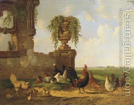 Poultry by a ruin, an extensive landscape beyond by Albertus Verhoesen - Reproduction Oil Painting