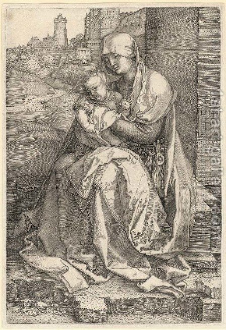 The Virgin and Child seated by a Wall by Albrecht Durer - Reproduction Oil Painting