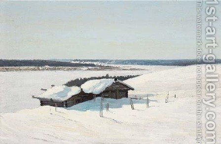 Snowy landscape by Alexandr Alekseevich Borisov - Reproduction Oil Painting